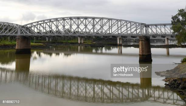 A railway bridge is seen stretching across the Fitzroy river on July 09 2017 in Rockhampton Australia