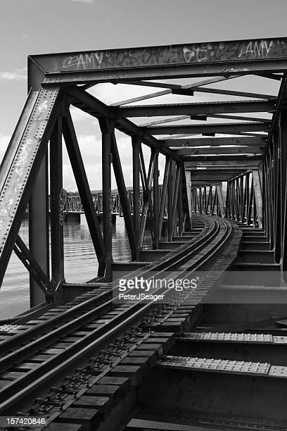 Railway Bridge over Harbour - Black and White