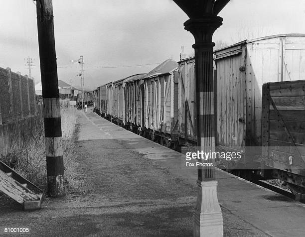 Railway carriages stored at Kingscote Station on the disused 'Bluebell and Primrose Line' between Lewes and East Grinstead 12th March 1959 Students...