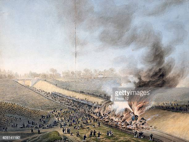 Railway catastrophe Bellevue 8 May 1842 Packed train travelling from Versailles to Paris pulled by 2 locomotives Axle on first failed 3 carriages...