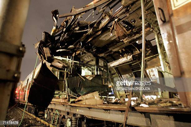 A railway compartment of one of the train bomb blasts stands on the tracks at Khar Mumbai late 11 July 2006 Seven explosions ripped through commuter...