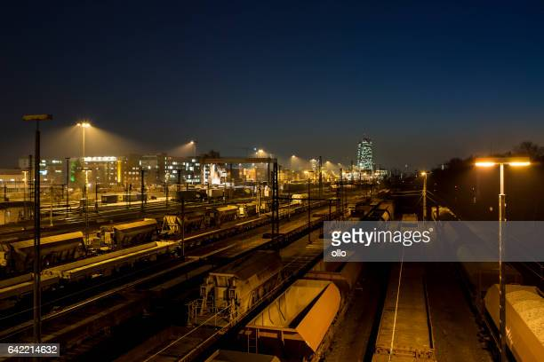 Railway container cargo terminal - Frankfurt Eastend at dusk