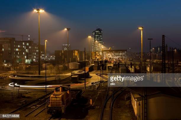 Railway container cargo terminal - Frankfurt Eastend at dusk