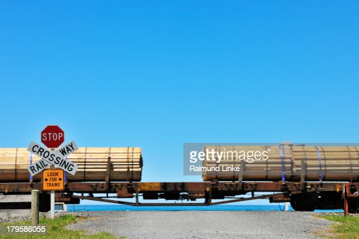 Railway Crossing with Train : Stock Photo