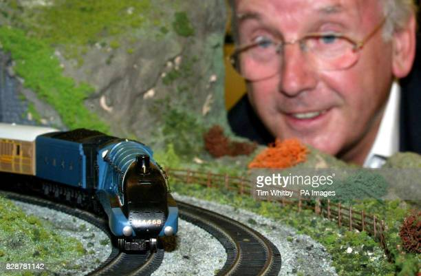 Railway enthusiast and pop impresario Pete Waterman looks on as Hornby launches its first Live Steam Locomotive the Mallard part of it's new 'OO'...