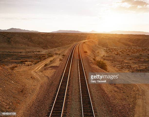 Railway lines leading into the distance