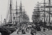 Railway Pier Melbourne Australia Engraving 1886