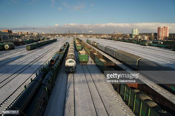 Railway station full of loaded freight trains in winter in Chelyabinsk Russia