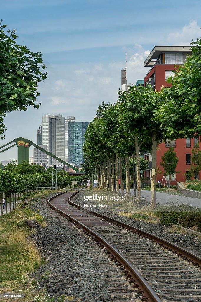 Railway to Frankfurt skyline