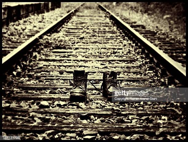 Railway track and shoes pair