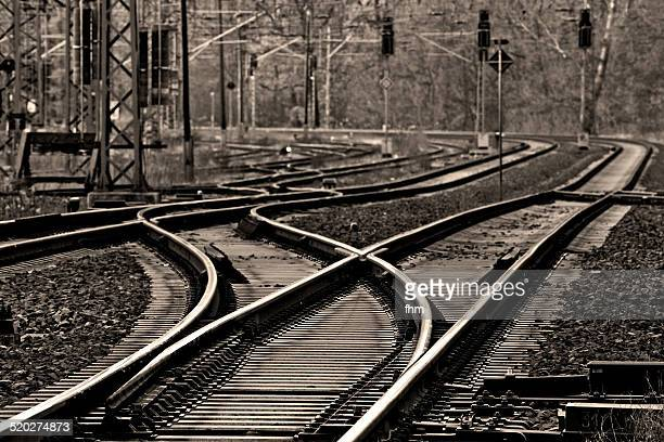 Railway track at a switch