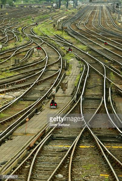 Railway tracks at Clapham Junction on May 20 2004 in London England Railway workers have voted to strike in a dispute over pay and pensions A...