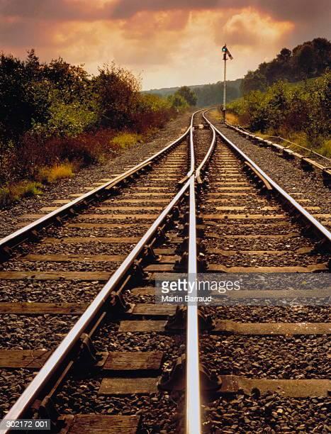 Railway tracks in pastoral landscape, England