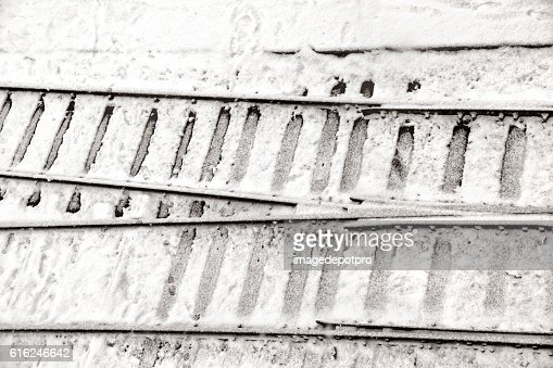 railway tracks in snow : Stock Photo