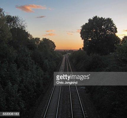 Railway tracks through countryside