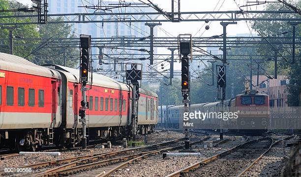 Railway train engines on the tracks at New Delhi Station on February 11 2013 in New Delhi India