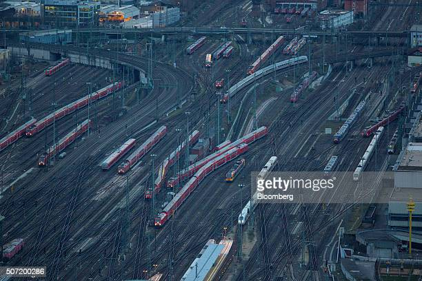 Railway trains sit on tracks near Frankfurt main station in Frankfurt Germany on Wednesday Jan 27 2016 German domestic demand buoyed by a stable...