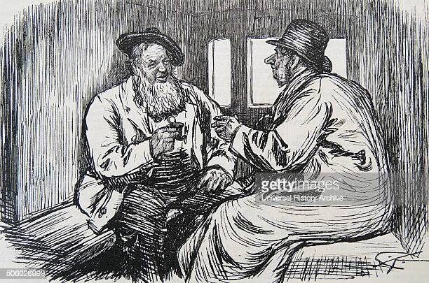 Railway traveller offering his snuff box to a second occupant with a large nose Cartoon from ''Punch'' London 1886 Photo by