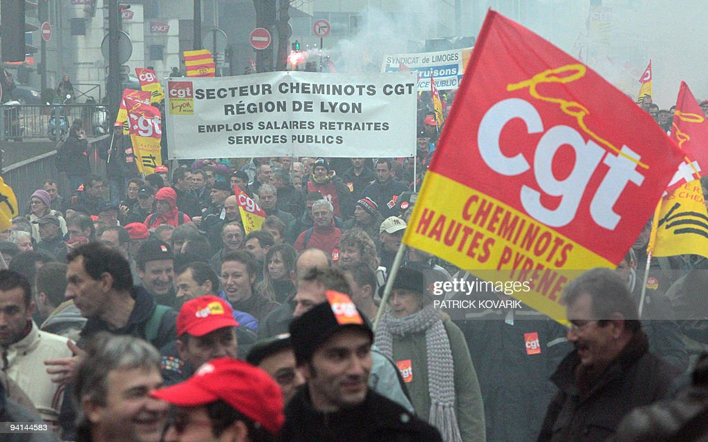Railway workers demonstrate on December 8 2009 in Paris during a national day of protest organised by French unions CGT Unsa CFDT on employement AFP...