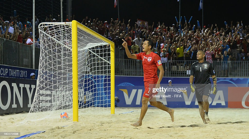 Raimana Li Fung Kuee of Tahiti celebrates after scoring during the FIFA Beach Soccer World Cup Tahiti 2013 3rd Place Playoff match between Brazil and Tahiti at the Tahua To'ata Stadium on September 28, 2013 in Papeete, French Polynesia.