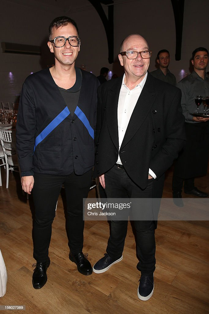 Raimund Berthold (L) and Paul Ettinger attend the VIP backstage dinner ahead of this year's Old Vic 24 Hour Musicals Celebrity Gala at The Old Vic Theatre on December 9, 2012 in London, England.