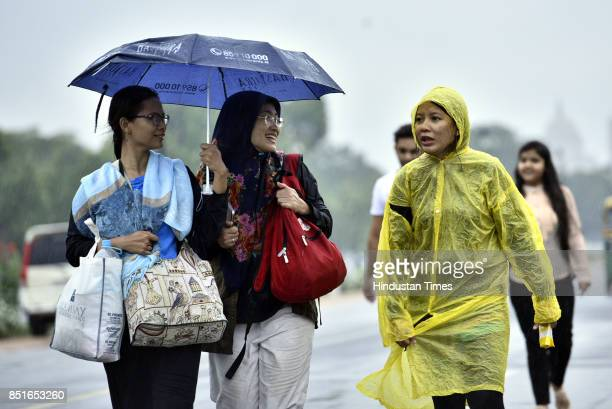 Rain and thundershowers lash parts of DelhiNCR on Friday morning bringing some respite from the hot and muggy weather on September 22 2017 in New...