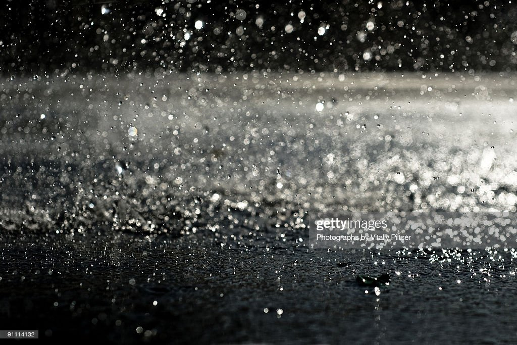 Rain at night : Stock Photo