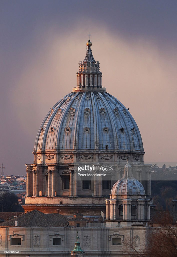 Rain clouds gather near St Peter's Basilica on February 26, 2013 in Rome, Italy. The Pontiff will hold his last weekly public audience on February 27, 2013 before he retires the following day. Pope Benedict XVI has been the leader of the Catholic Church for eight years and is the first Pope to retire since 1415. He cites ailing health as his reason for retirement and will spend the rest of his life in solitude away from public engagements