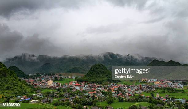 Rain clouds gather over Tam Son, Ha Giang, Vietnam.