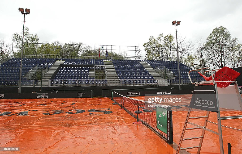 Rain covers protect the central court as rain falls during day one of the Fed Cup World Group Play-Offs between Switzerland and Australia at Tennis Club Chiasso on April 20, 2013 in Chiasso, Switzerland.
