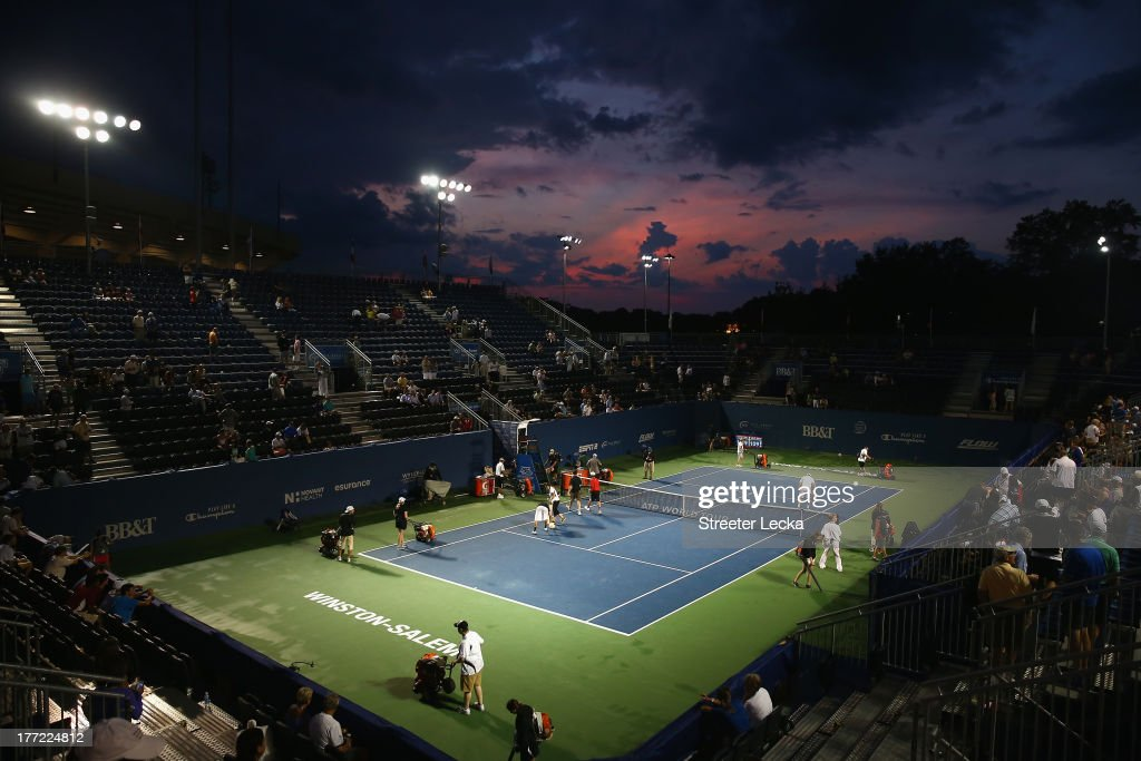 A rain delay stops play in the quarterfinals matches during day 5 of the Winston-Salem Open at Wake Forest University on August 22, 2013 in Winston Salem, North Carolina.