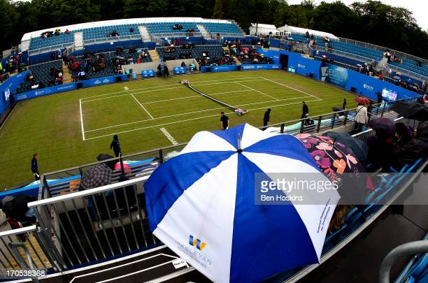 Rain delays play during day six of the AEGON Classic tennis tournament at Edgbaston Priory Club on June 14 2013 in Birmingham England