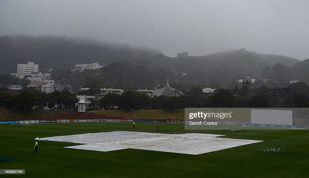 Rain delays the start of day five of the Test match between New Zealand and England at Basin Reserve on March 18, 2013 in Wellington, New Zealand.