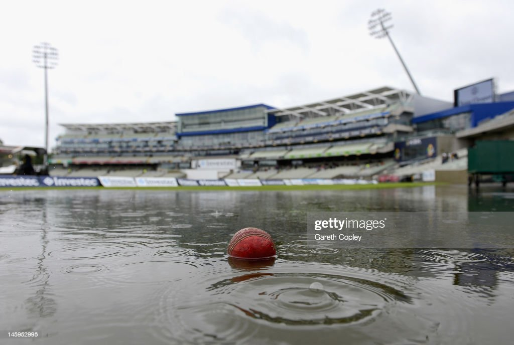 Rain delays the start of day two of the third 3rd Investec Test match between England and the West Indies at Edgbaston on June 8, 2012 in Birmingham, England.