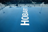 Rain delays the start of play during during day four of the 2015 Hobart International at Domain Tennis Centre on January 14 2015 in Hobart Australia