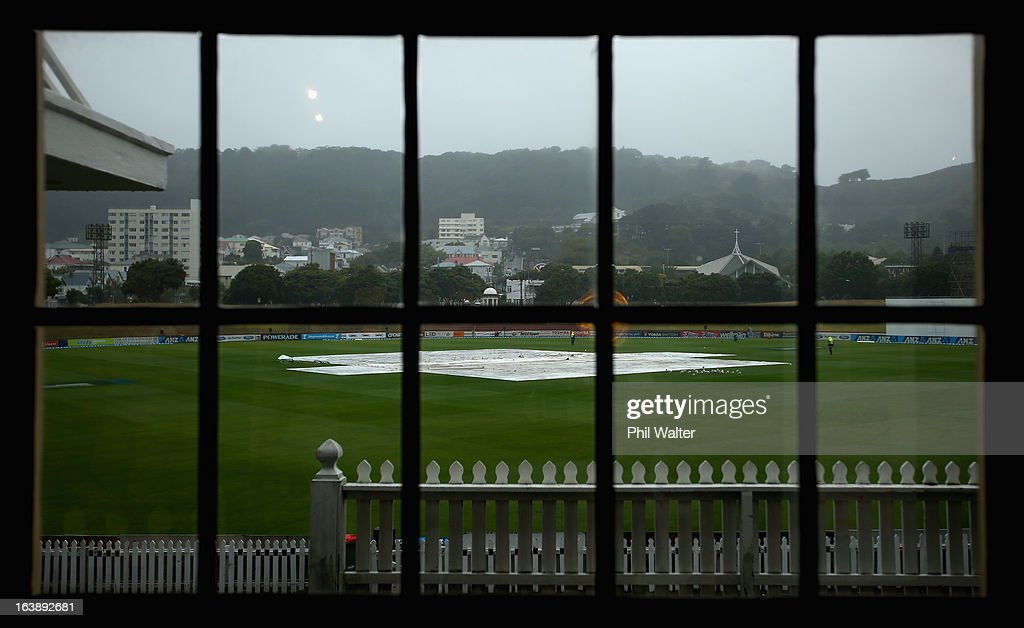 Rain delays the start of play on day five of the second test match between New Zealand and England at the Basin Reserve on March 18, 2013 in Wellington, New Zealand.