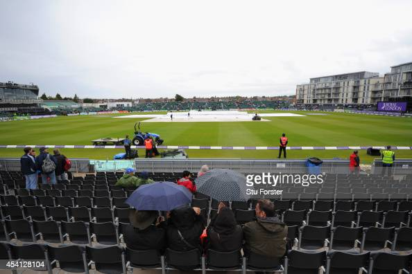 Rain delays the start of the1st Royal London OneDay Series match between England and India at The County Ground on August 25 2014 in Bristol England