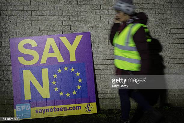 Rain drops run down the front of a European Union flag on a antiEU banner at a Say NO Believe in Britain debate at Carn Brea Leisure Centre in Pool...