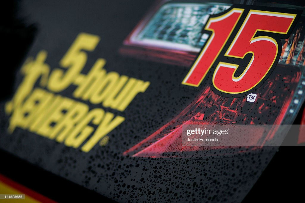 Rain drops sit on back bumper of the #15 5-hour Energy Toyota driven by Clint Bowyer prior to the NASCAR Sprint Cup Series Food City 500 at Bristol Motor Speedway on March 18, 2012 in Bristol, Tennessee.