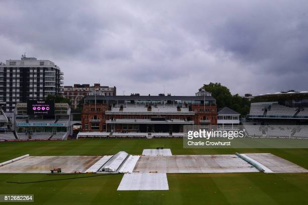 Rain ends play during the MCC v Afghanistan cricket match at Lord's Cricket Ground on July 11 2017 in London England