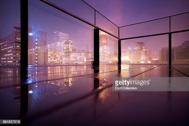 Rain falling down on elevated terrace in Osaka