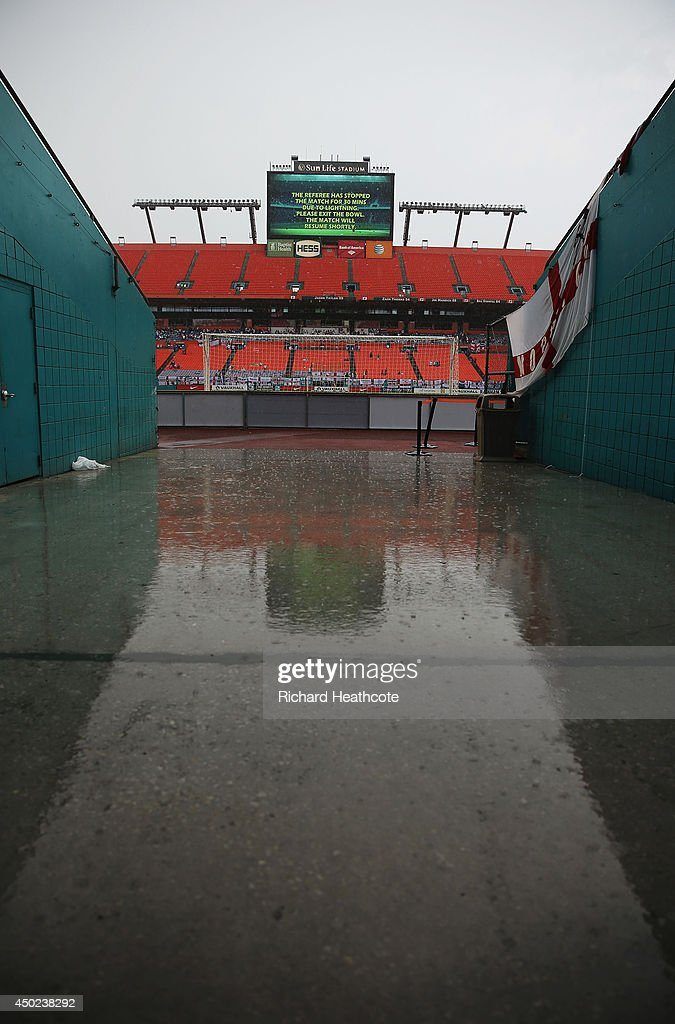 Rain falls as the game is delayed due to inclement weather during the International Friendly match between England and Honduras at Sun Life Stadium on June 7, 2014 in Miami Gardens, Florida.