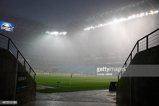 Rain falls at Arena do Gremio before the match Gremio v Fluminense as part of Brasileirao Series A 2015 at Arena do Gremio on November 19 2015 in...