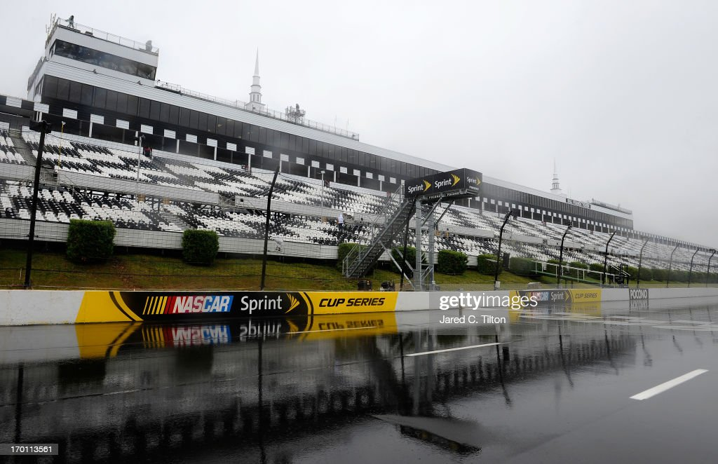 Rain falls during a delay at Pocono Raceway on June 7, 2013 in Long Pond, Pennsylvania.