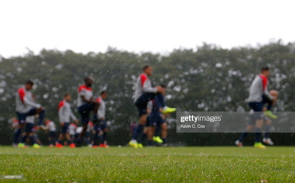 Rain falls during the US Men's National Team training session at Sao Paulo FC on June 10, 2014 in Sao Paulo, Brazil.