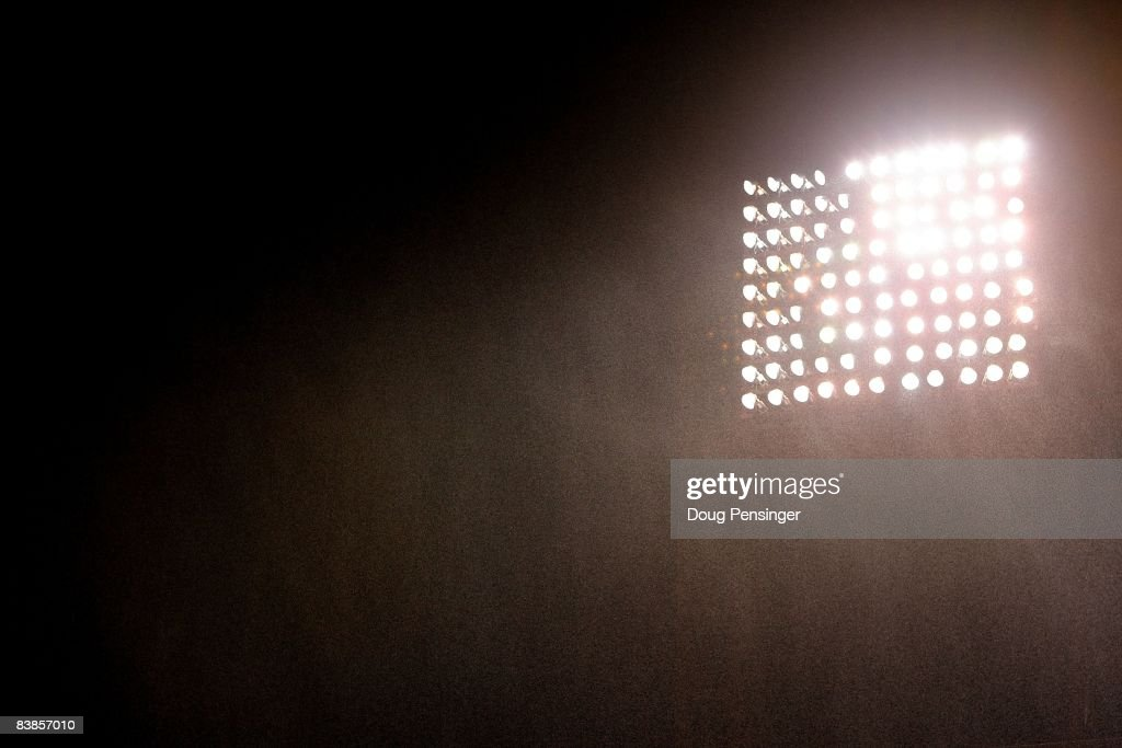Rain falls in front of the stadium lights during game three of the 2008 MLB World Series between the Philadelphia Phillies and the Tampa Bay Rays on October 25, 2008 at Citizens Bank Park in Philadelphia, Pennsylvania.