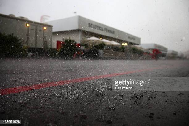 Rain falls in the paddock after the afternoon practice session was suspended due to weather ahead of the United States Formula One Grand Prix at...