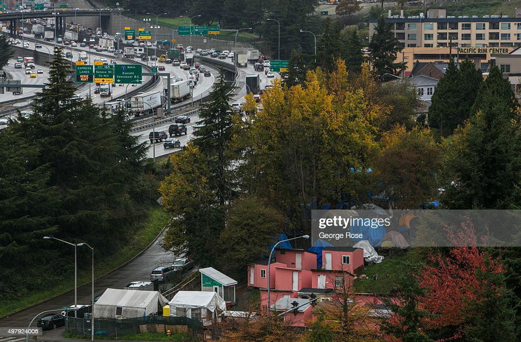 Rain falls on a homeless encampment called Nickelsville on November 3 in Seattle Washington Seattle located in King County is the largest city in the...