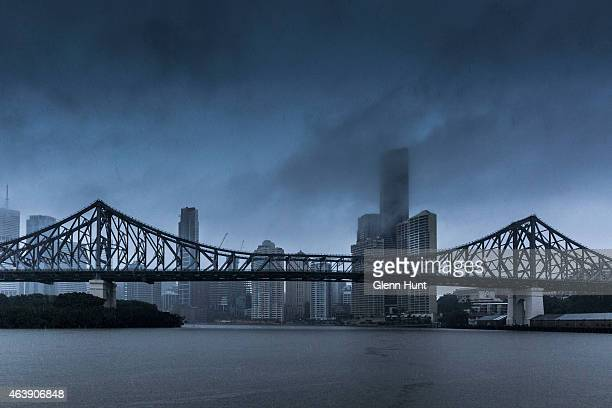 Rain falls on the Brisbane central business district and the Story Bridge on February 20 2015 in Brisbane Australia Tropical Cyclone Marcia was...