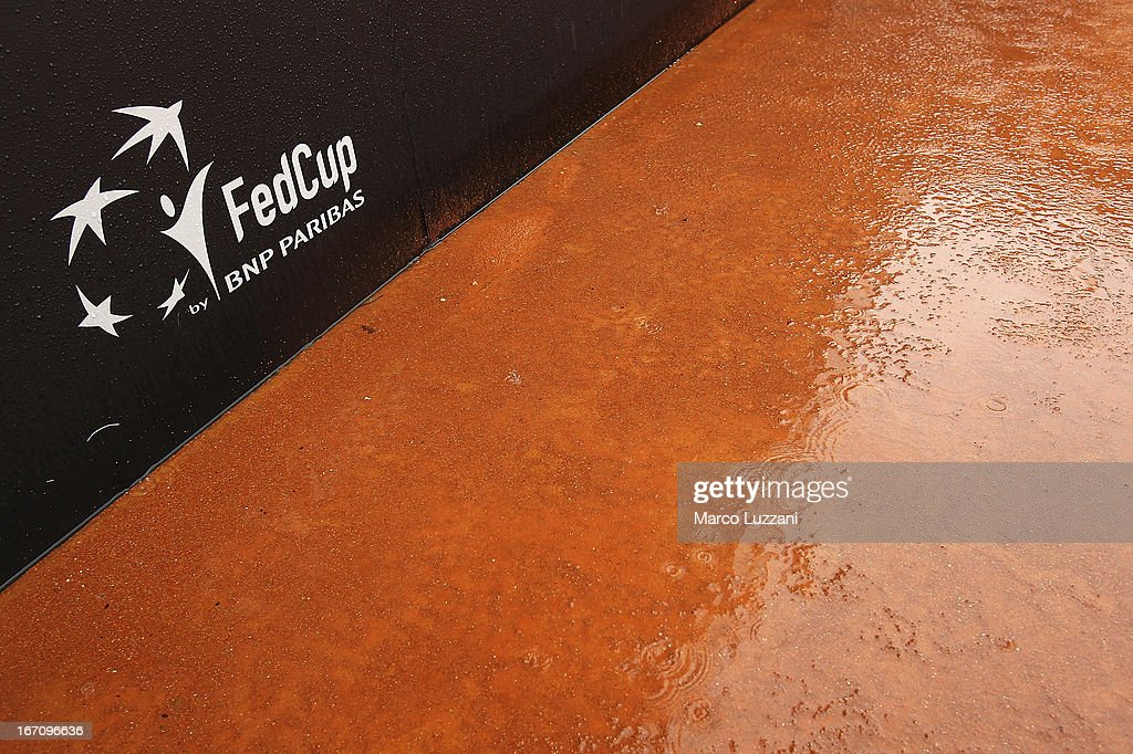 Rain falls on the central court during day one of the Fed Cup World Group Play-Offs between Switzerland and Australia at Tennis Club Chiasso on April 20, 2013 in Chiasso, Switzerland.